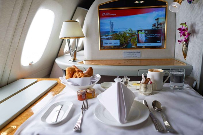 Credit: Interior of Emirates Airbus A380. Emirates is one of two flag carriers of the United Arab Emirates along with Etihad Airways and is based in Dubai.