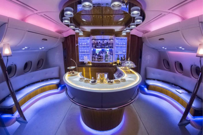 Emirates Airbus A380 interior- BUSINESS CLASS BAR
